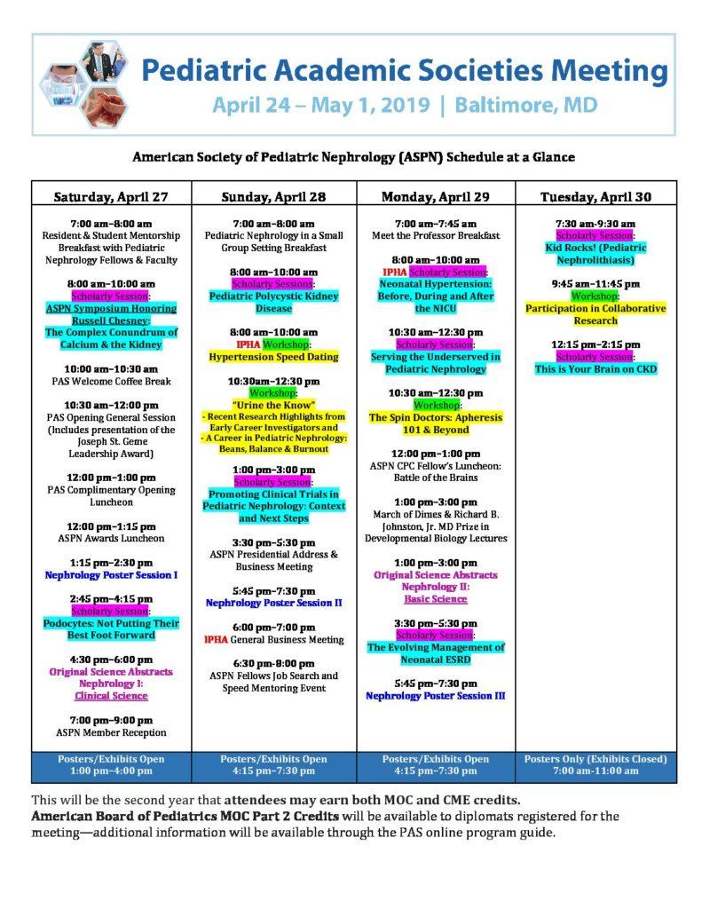 Meetings at PAS – American Society of Pediatric Nephrology (ASPN)